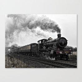 Steam locomotive in motion Canvas Print