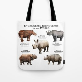 Endangered Rhinoceros of the World Tote Bag