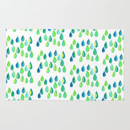Cherish All of Your Tears blue green pattern tears illustration watercolor inspirational words Rug