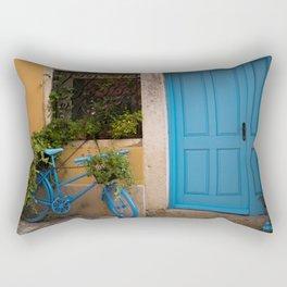 Blue Bicycle and Door in Rovinj Rectangular Pillow