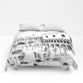 Sketch of San Marco Square in Venice Comforters