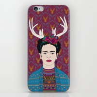 frida iPhone & iPod Skins featuring DEER FRIDA by Bianca Green