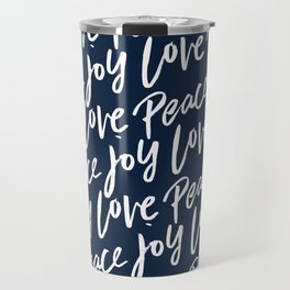 Peace Love Joy Christmas Pattern Travel Mug