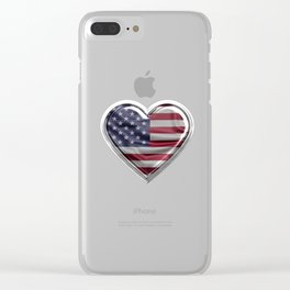America Heart American Flag design Gift For USA Patriots Clear iPhone Case