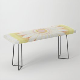Sunshine Yellow Flower Mandala Abstract Bench