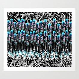 Flourescent Flower Girls  Art Print