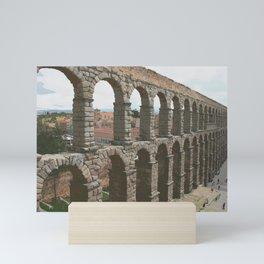 Elevated view of ancient Roman aqueduct in Segovia Mini Art Print