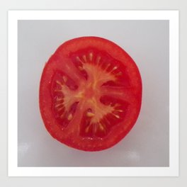 Lovely Red Tomato Sitting On A White Plate, Sliced Red Tomato Art Print
