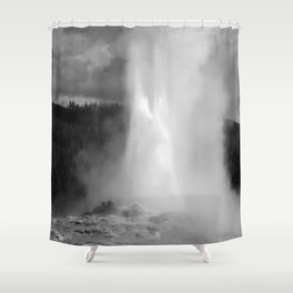 Old Faithful in Black and White Shower Curtain
