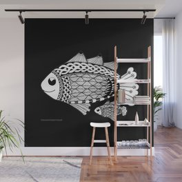 Fishies Zentangle Black and White Pen & Ink Wall Mural