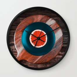 Music and Food - vinyl record concept Wall Clock