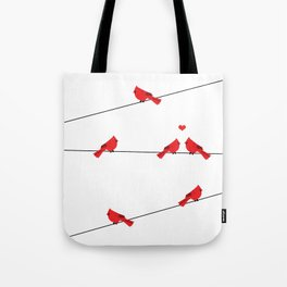 Red birds - winter talk Tote Bag