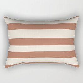 Inspired By Cavern Clay Sw 7701 Hand Drawn Thick Horizontal Lines on Creamy SW7012 Rectangular Pillow