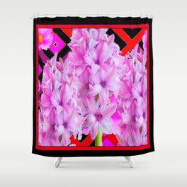 WESTERN BLACK-RED  PURPLISH-PINK ROSES & HYACINTHS Shower Curtain