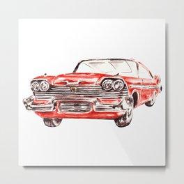 Watercolor Red Classic Car Metal Print