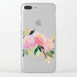 Peony Blooms Clear iPhone Case
