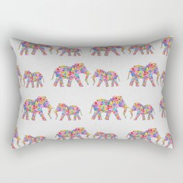Floral Elephants, Nursery Decor Rectangular Pillow