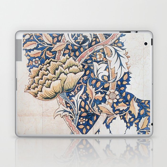Design for Windrush by William Morris 1883 // Romanticism Blue Red Yellow Color Filled Floral Design Laptop & iPad Skin