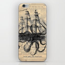 Octopus Kraken attacking Ship Antique Almanac Paper iPhone Skin