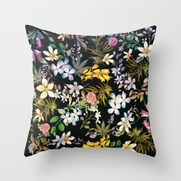 Flowers with Hidden Pot Leaves Throw Pillow