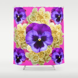 PURPLE PANSY FLOWERS & IVORY ROSES  PINK ART Shower Curtain