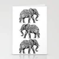 ornate elephant Stationery Cards featuring Ornate Elephant 3.0 by BIOWORKZ
