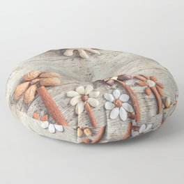 Dried fruits arranged forming flowers (3) Floor Pillow