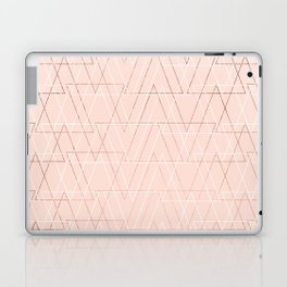 Modern white rose gold abstract geometric triangles on blush pink Laptop & iPad Skin