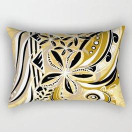Polynesian - Hawaiin - Samoan Ochre Floral Tribal Rectangular Pillow