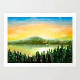 Lake Mountain Art Print