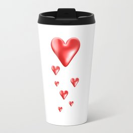 Red and White Gradient Hearts Travel Mug