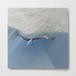 The Creation of Adam the Whale Metal Print