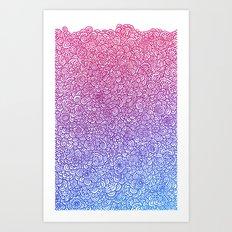 Flowery doodle Art Print
