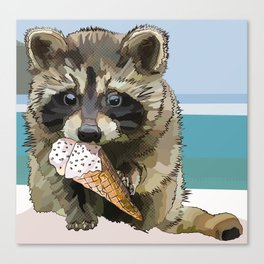 Raccoon Eating Ice-cream on the Beach | Summer Vacation | Cute Baby Animal Canvas Print