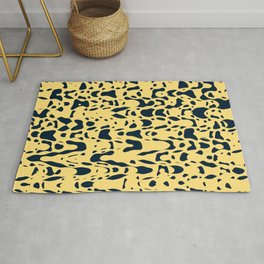 Sand beige and ink blue chaotic shapes, color pieces sailing in the space, inspiring simple print Rug