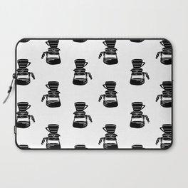 Hario V60 coffee maker linocut black and white drinks pattern kitchen Laptop Sleeve