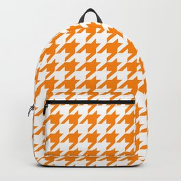 Orange: Houndstooth Checkered Pattern Backpack