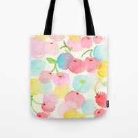 cherry blossom Tote Bags featuring cherry blossom by zeze