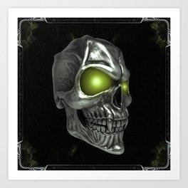 Skull with glowing green eyes Art Print