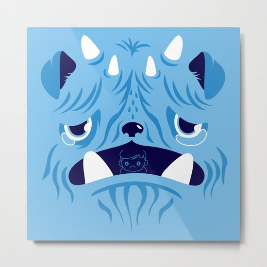 The Bluest Monster Ever :(( Metal Print