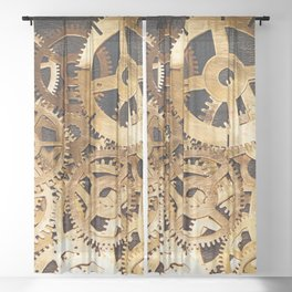 Gears & Leather Sheer Curtain