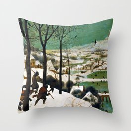 The Hunters in the Snow (winter) by Pieter Bruegel the Elder (1565) Throw Pillow