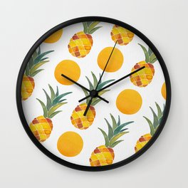 Pineapple Dot Pattern Wall Clock