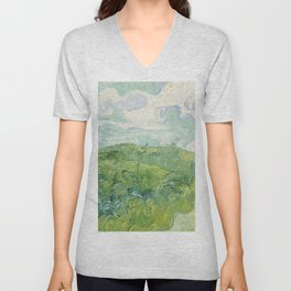 Vincent van Gogh Green Wheat Fields, Auvers 1890 Painting Unisex V-Neck