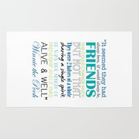 winnie the pooh Area & Throw Rugs featuring Winnie the Pooh Friendship Quote - Blues & Greens by Jaydot Creative