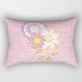 Colorful Spring Posy Pink Damask Style Brocade Rectangular Pillow