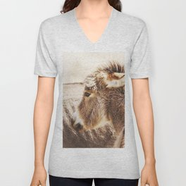 Donkey Foal by the side of the road in Kamanjab, Namibia Unisex V-Neck