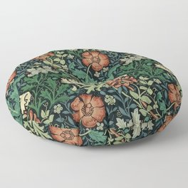 William Morris Compton Floral Art Nouveau Pattern Floor Pillow