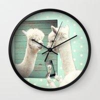 selfie Wall Clocks featuring SELFIE by Monika Strigel