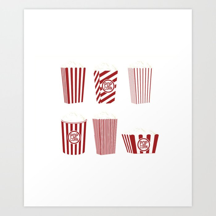 Movie and Popcorn Time Art Print by malgharbawi